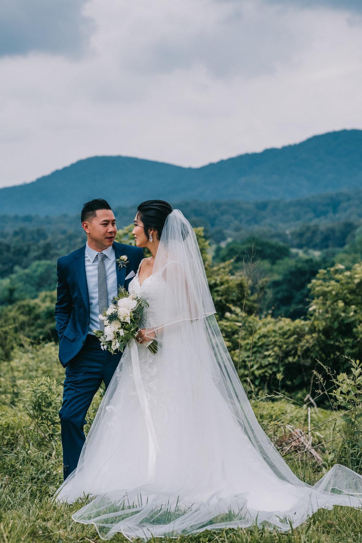 blue ridge mountain wedding first look couple portraits