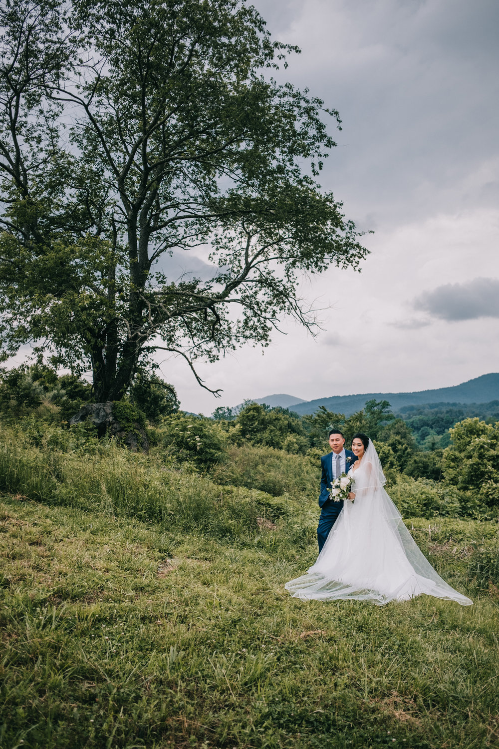 virginia mountain wedding blue valley winery couple portraits