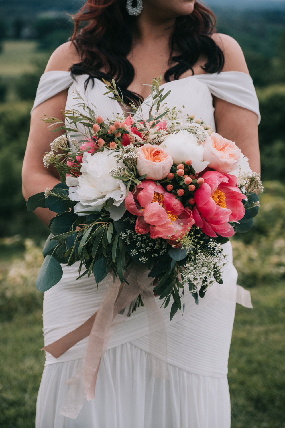 bluemont vineyard wedding bridal portrait flowers bouquet