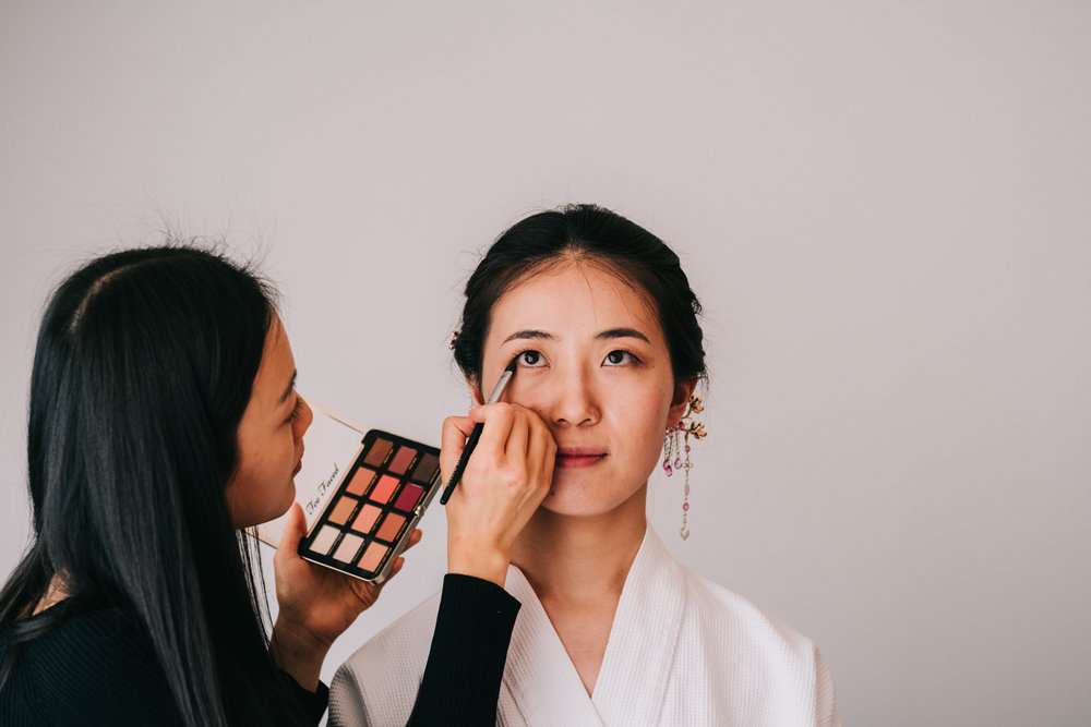 Washington DC chinese wedding bride getting ready makeup artsist
