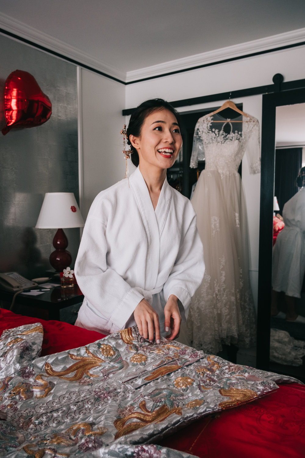 Bride getting ready for Chinese Tea Ceremony at DC Hotel