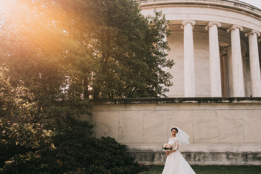 Epic bridal portrait at the Jefferson Memorial in Washington DC wedding