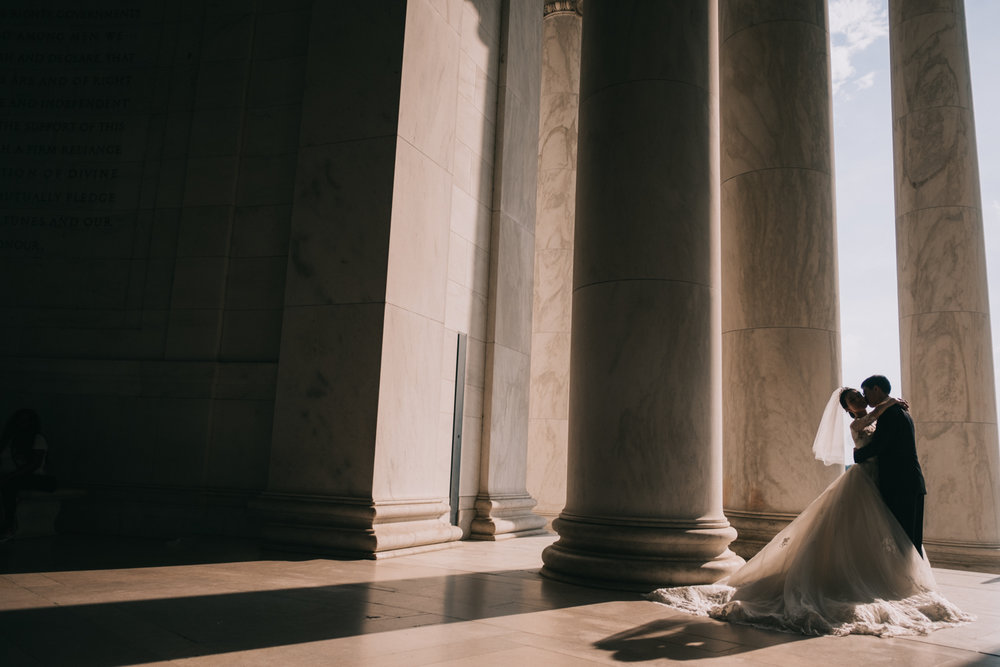 dark and moody jefferson memorial dc wedding portrait
