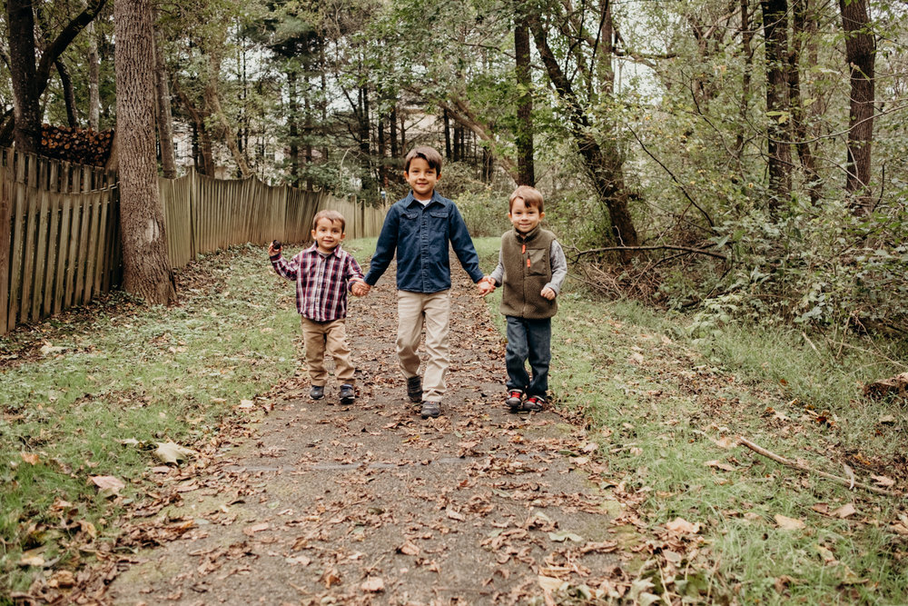 three brothers walking in the woods - family photographry