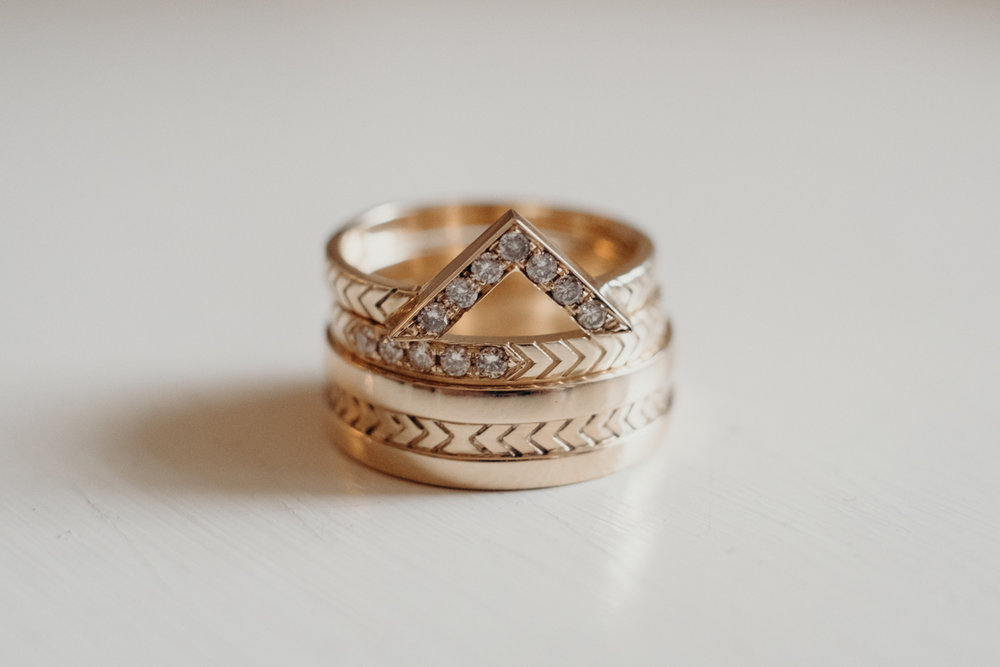 wedding inspiration wedding band ring shot detail with diamonds