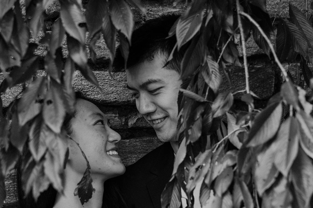 An engaged couple shares a moment behind foliage in the gardens of Dumbarton Oaks.