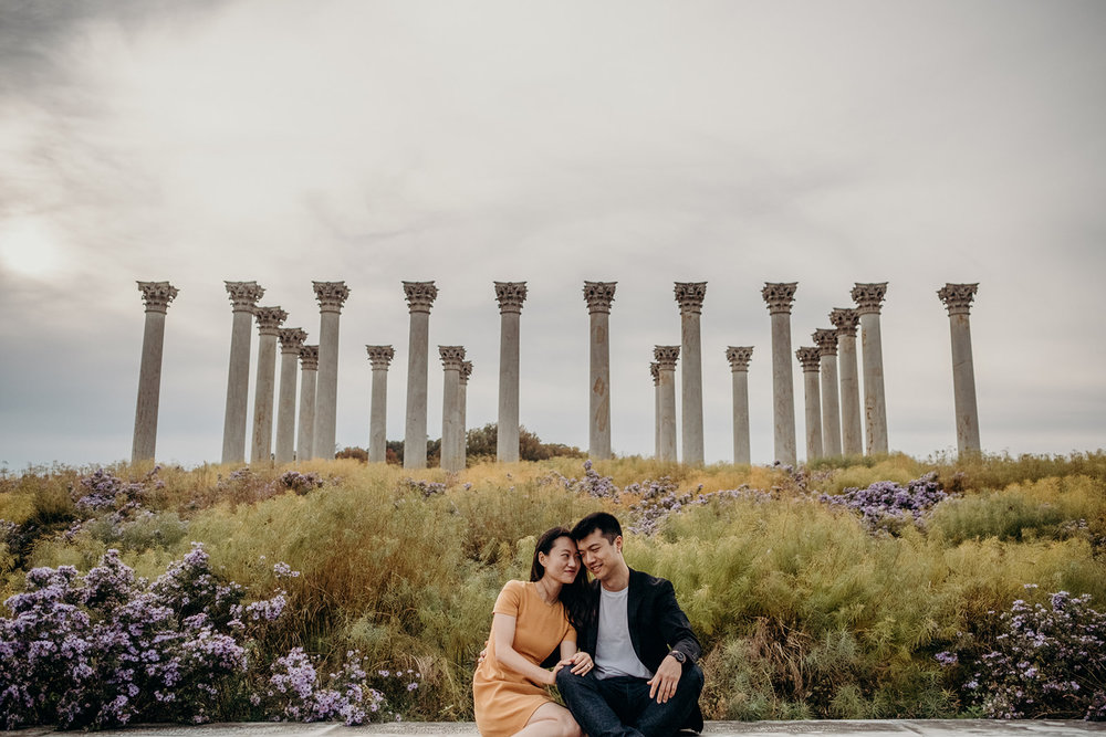 An engaged couple enjoys a warm November day at the National Arboretum.