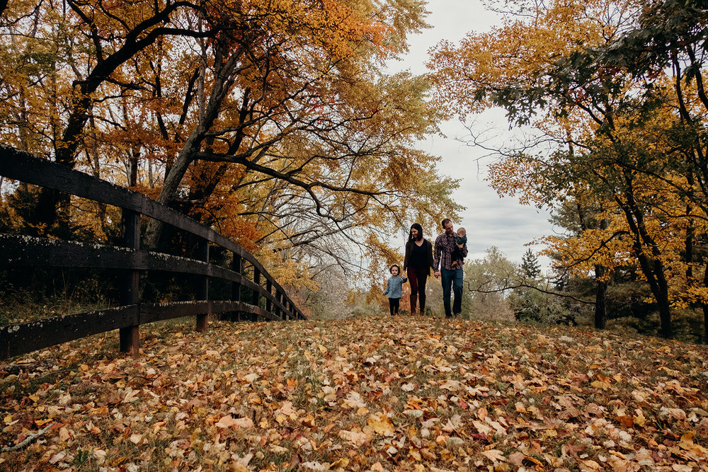 A family walks through colorful autumn leaves at Morven Park.