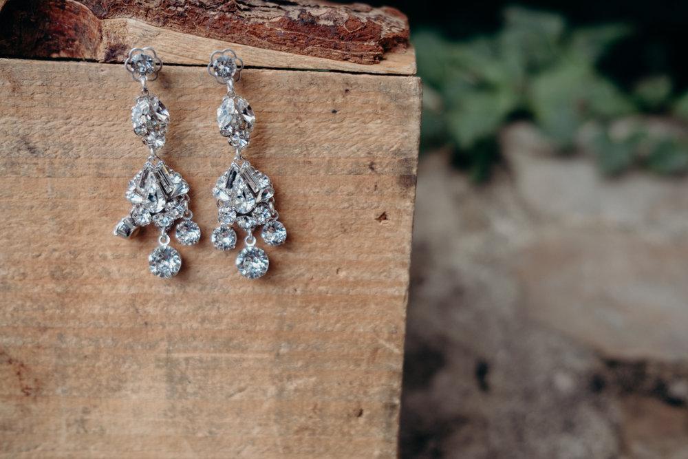 bride's earrings at virginia wedding in middleburg