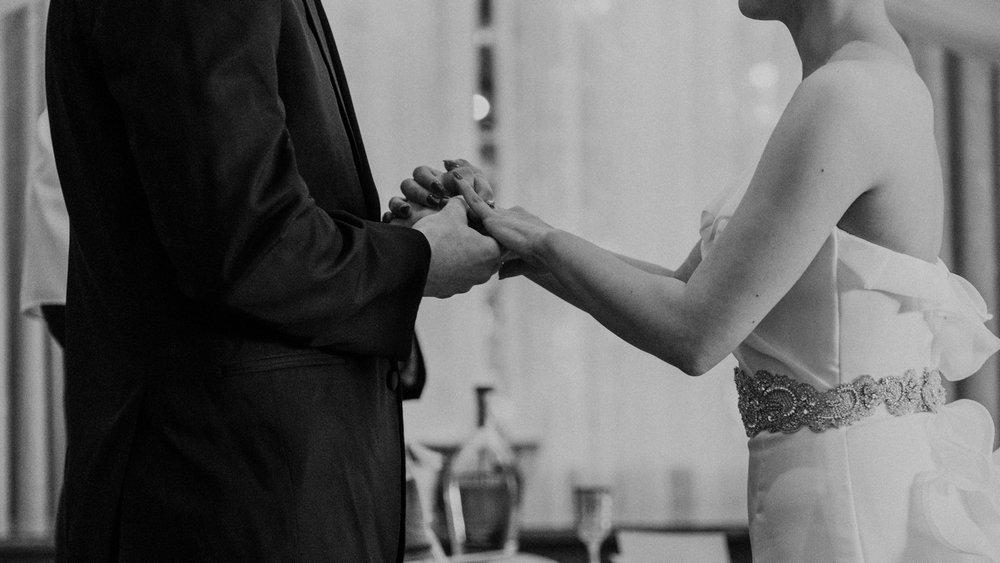 bride and groom exchange rings at middleburg virginia wedding