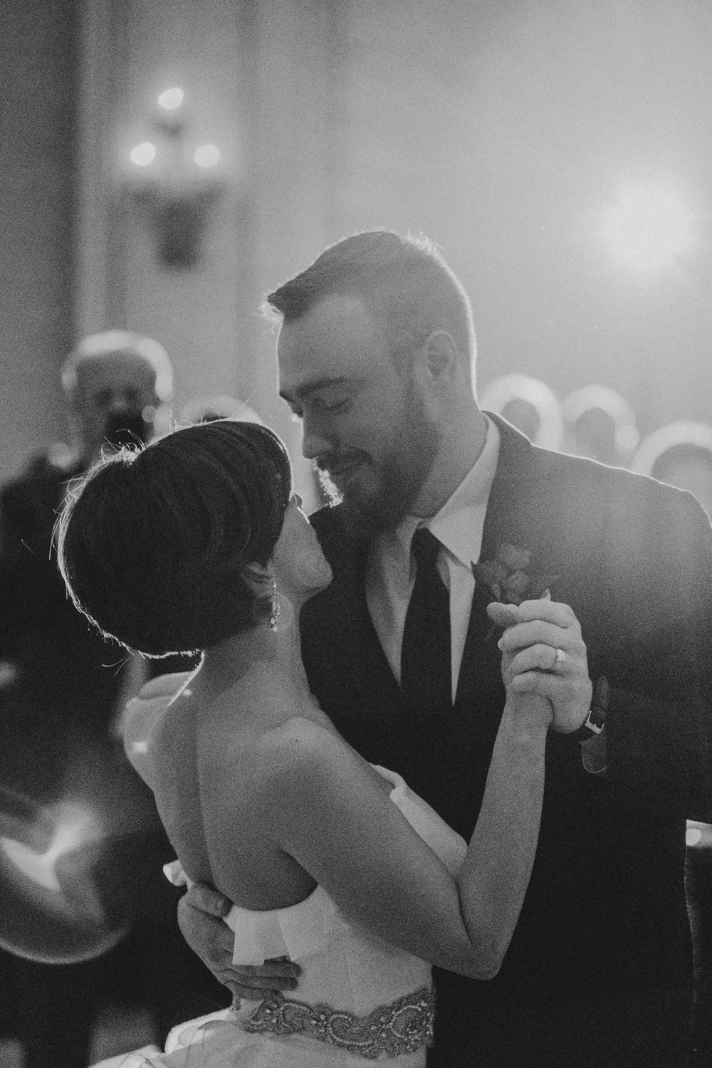 bride and groom up close during first dance