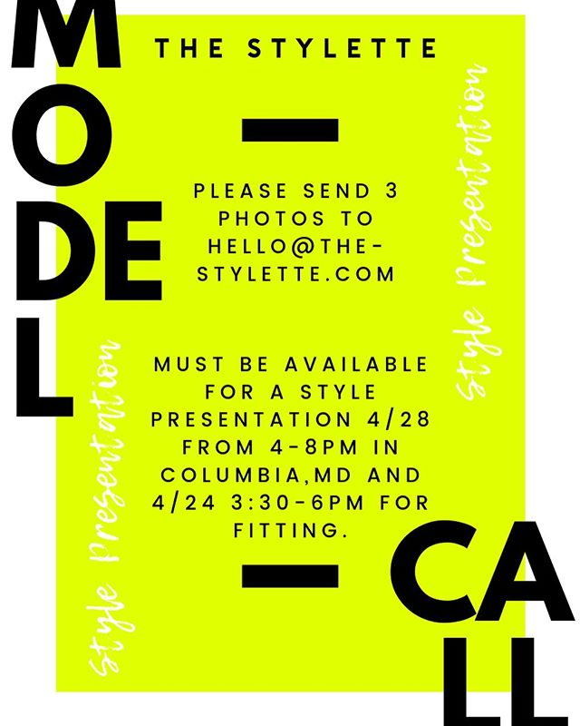 We're searching for 3 models for a style presentation with @thestyletteexperience in Columbia, MD on Sun. 4/28 from 4-8pm! You must also be available on Wed. 4/24 from 3:30-6pm for a fitting!  We welcome womxn of all shapes, sizes, and backgrounds! We will be sending our congrats/regrets emails out on Mon. 4/15!  #thebmorecreatives #networkbaltimore #bmoremodelcall #modelcall #baltimorefashion #stylepresentation