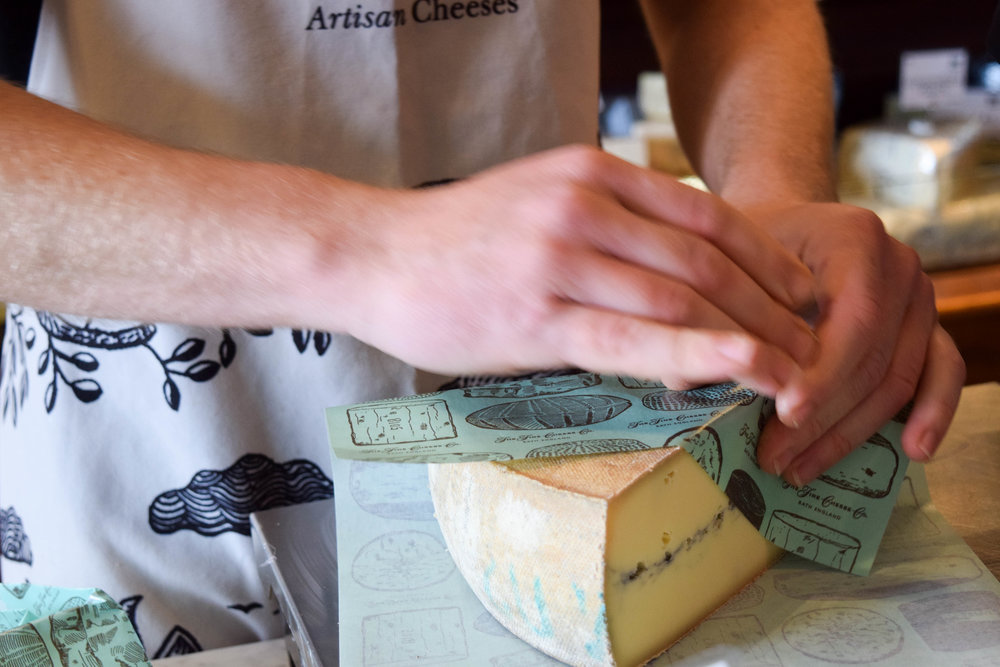 Freshly cut and wrapped at our Bath cheese shop
