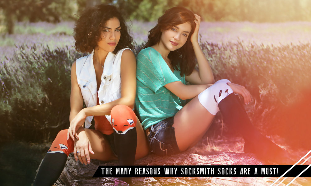 With highly formulated graphics representing pop-culture fashion, Socksmith socks can match any mood with their versatile selection. Models: Katalina Viteri & Andrea Sixtos. Photographer: J.W. CUDD