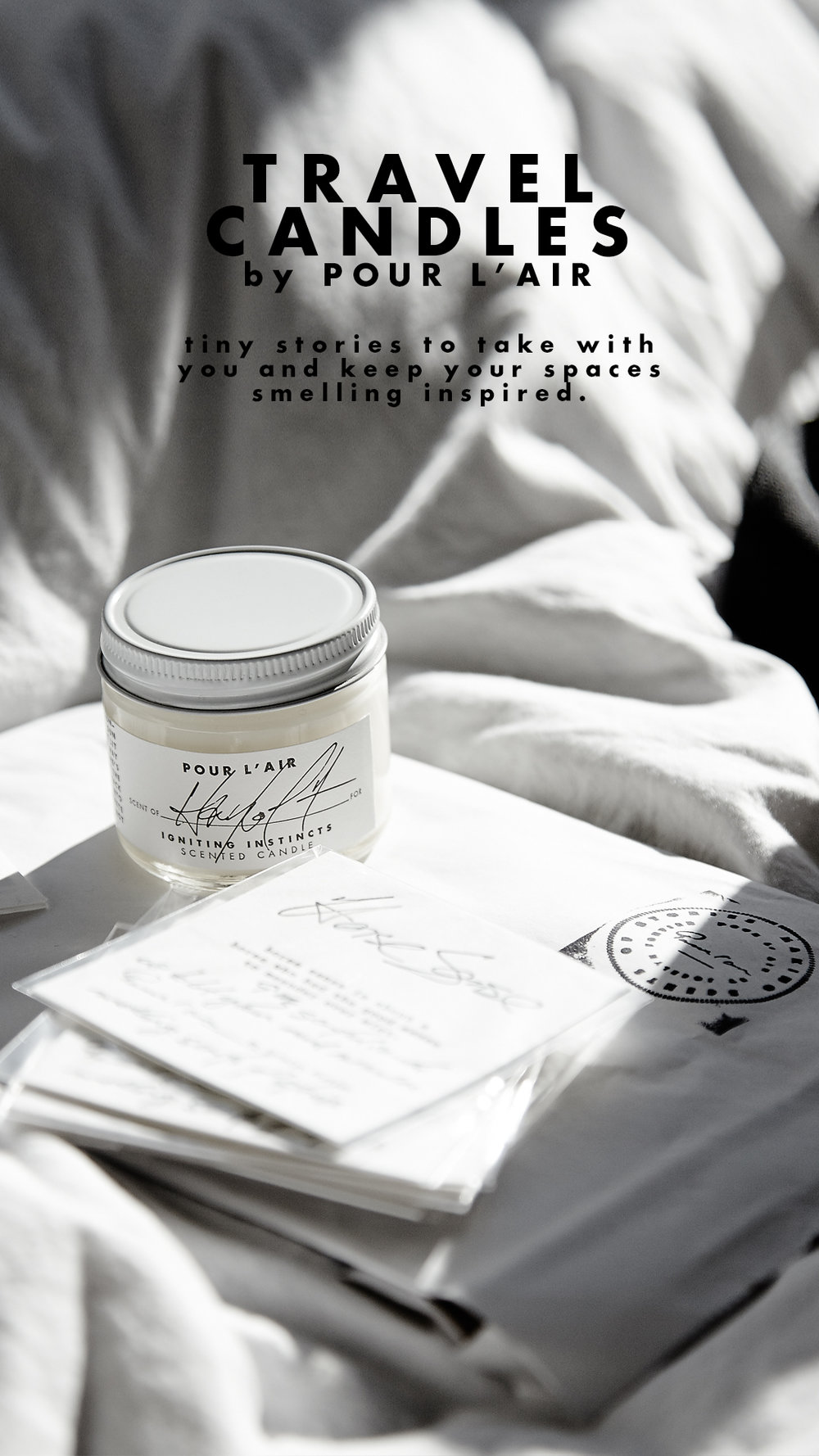 Travel candles to keep your travels smelling good. Shop  here.