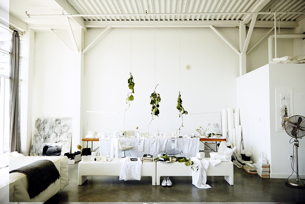 Pour l'air scent studio. We love making scents in our modern mess white loft.