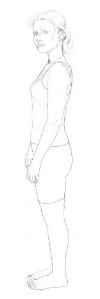 Mild anterior tilt and neutral spine.