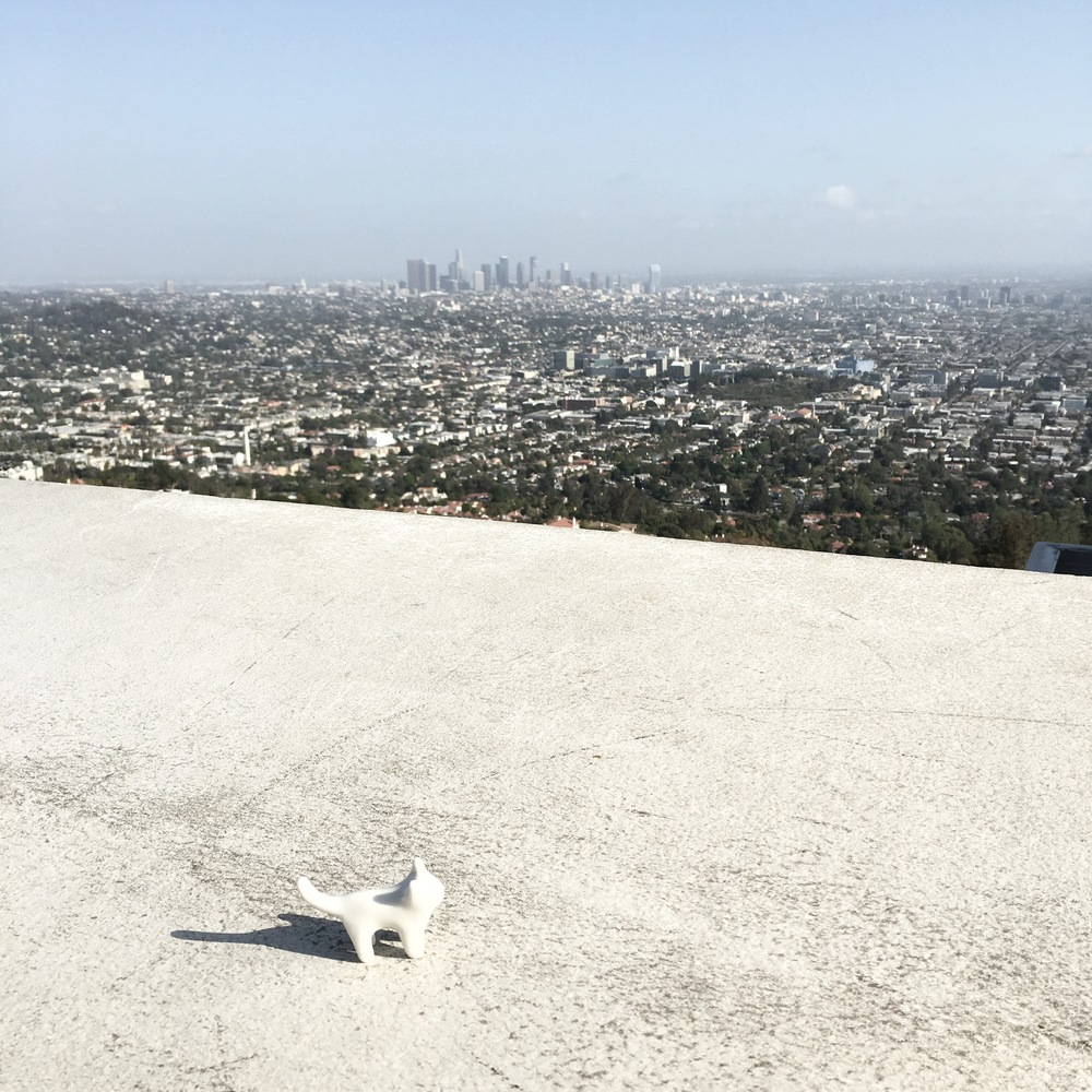 the LA skyline from the roof of the Griffith Observatory