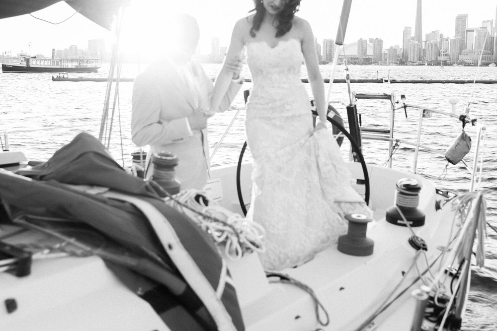Sunset wedding photos on the lake