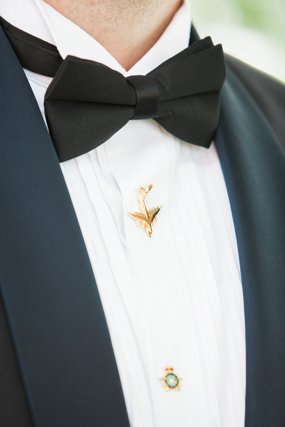 Groom's army suit details