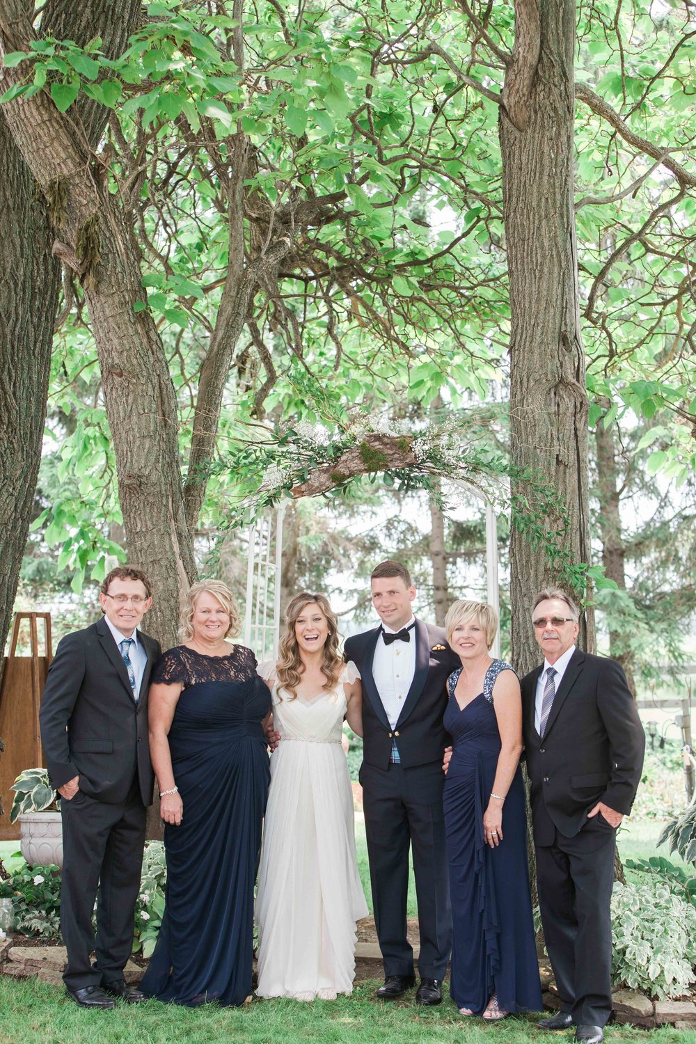 Family photos at intimate Ontario wedding