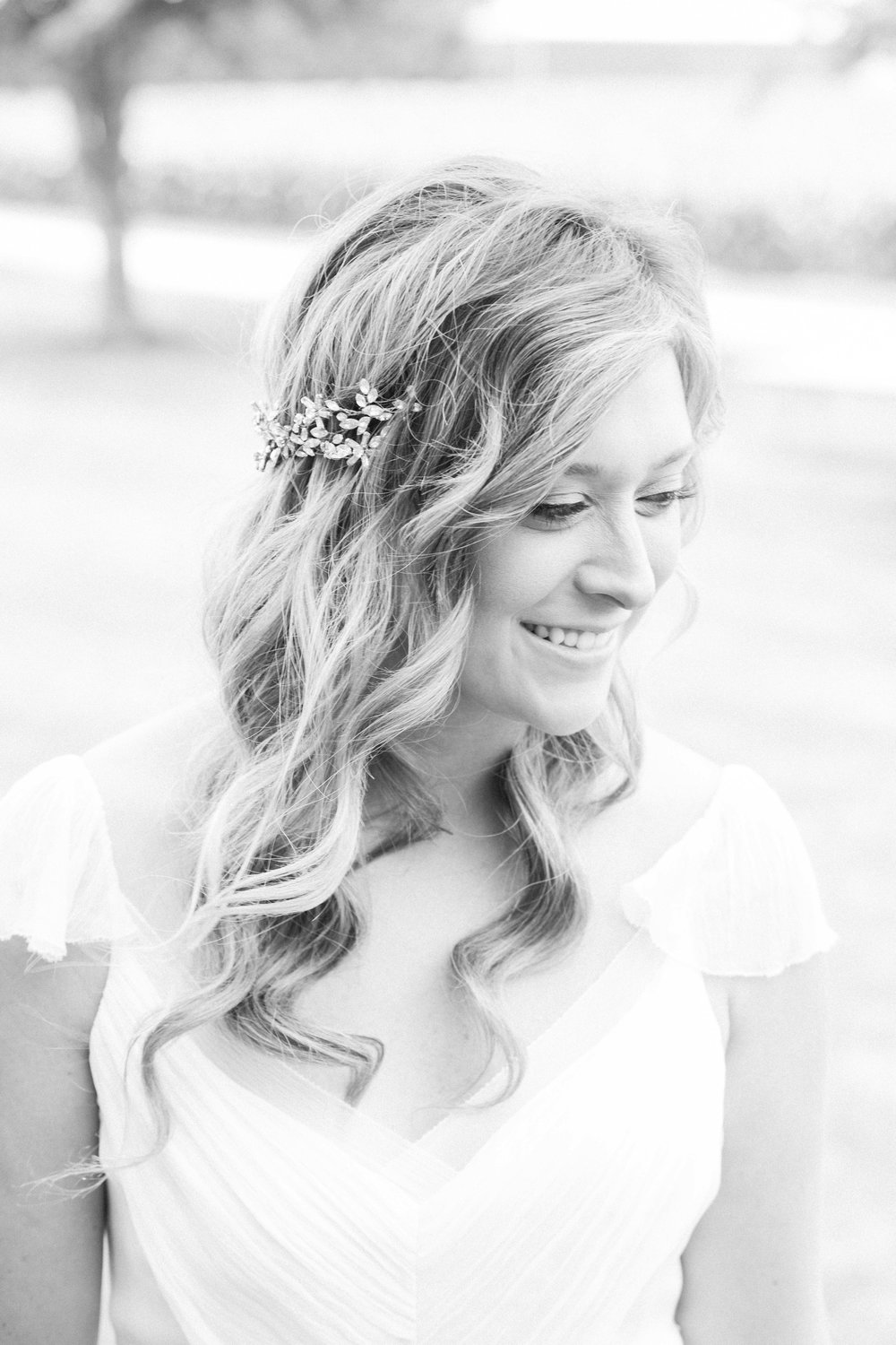 Black and white bridal portrait at summer wedding