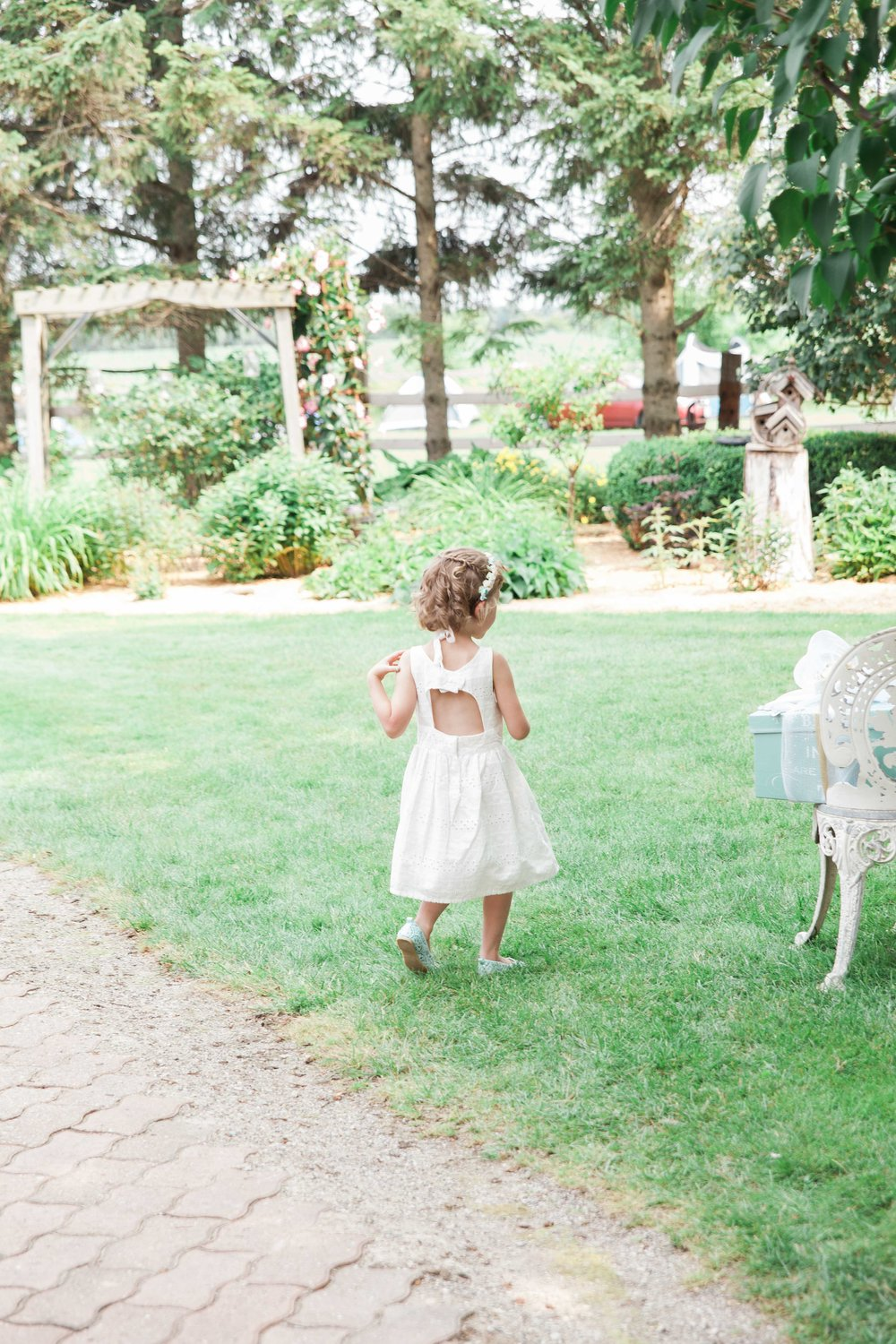 Flower girl at intimate private estate wedding