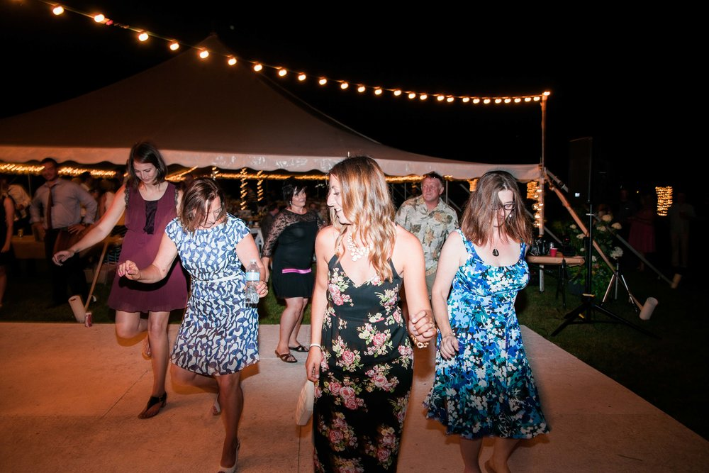 Guests dancing at Ontario tented wedding