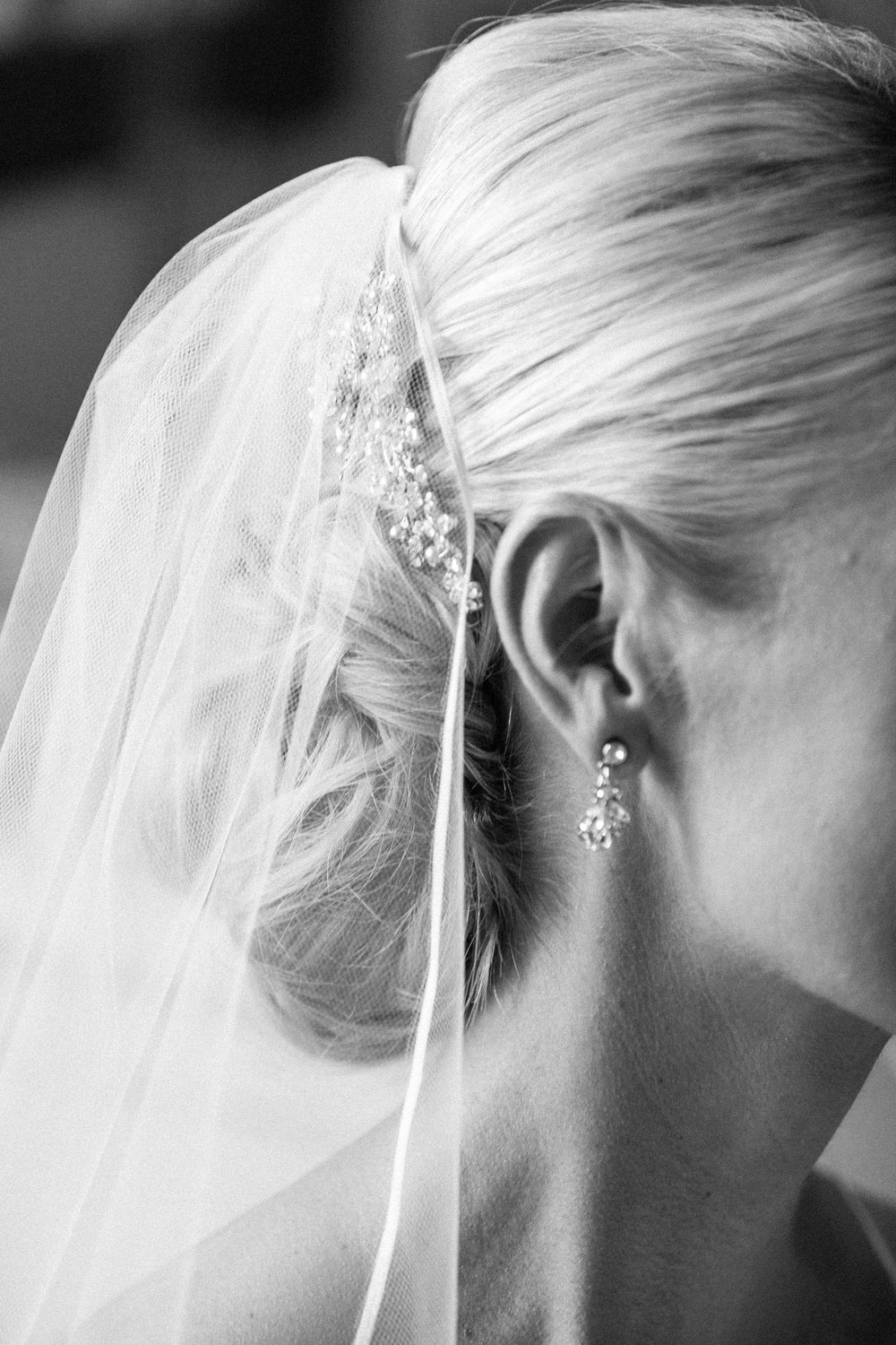 Bridal hairdo with beaded pin and veil