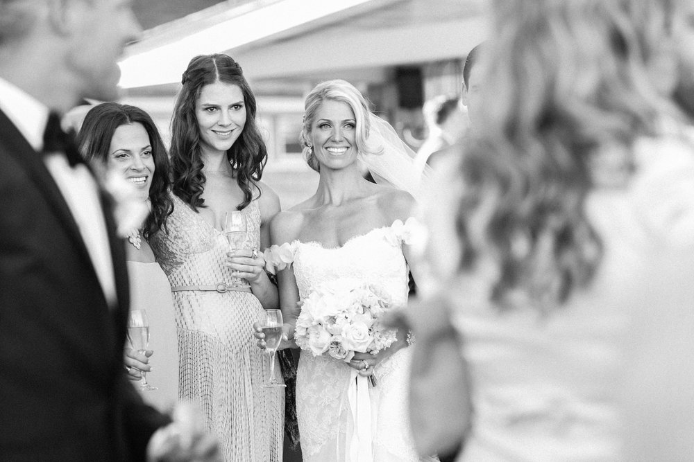 Bride taking photos with friends
