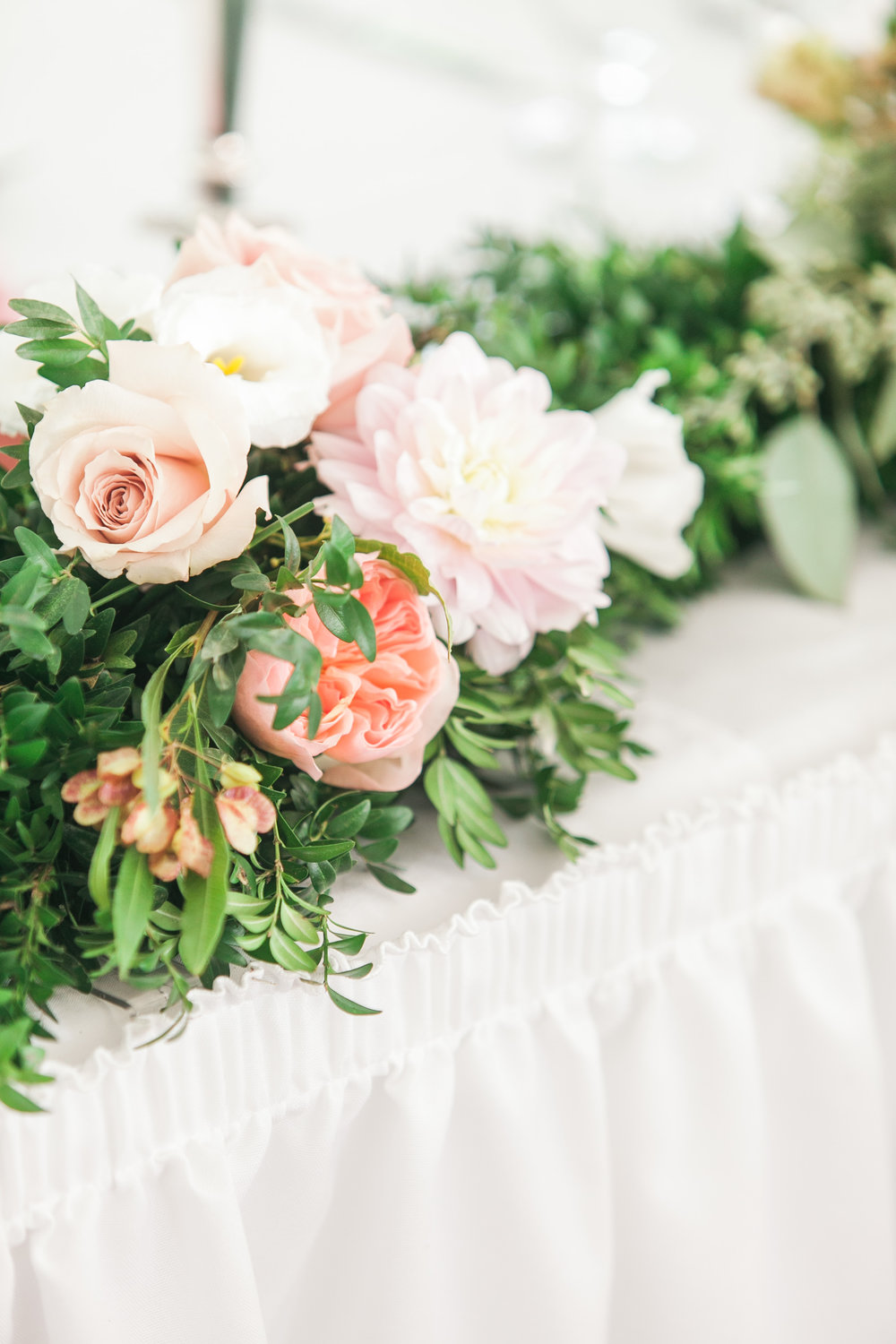 Flower garland at head table
