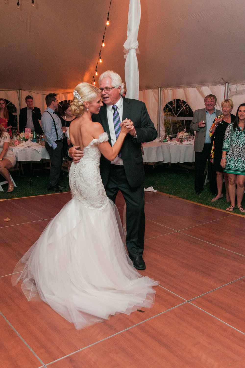 Father daughter dance at tented wedding