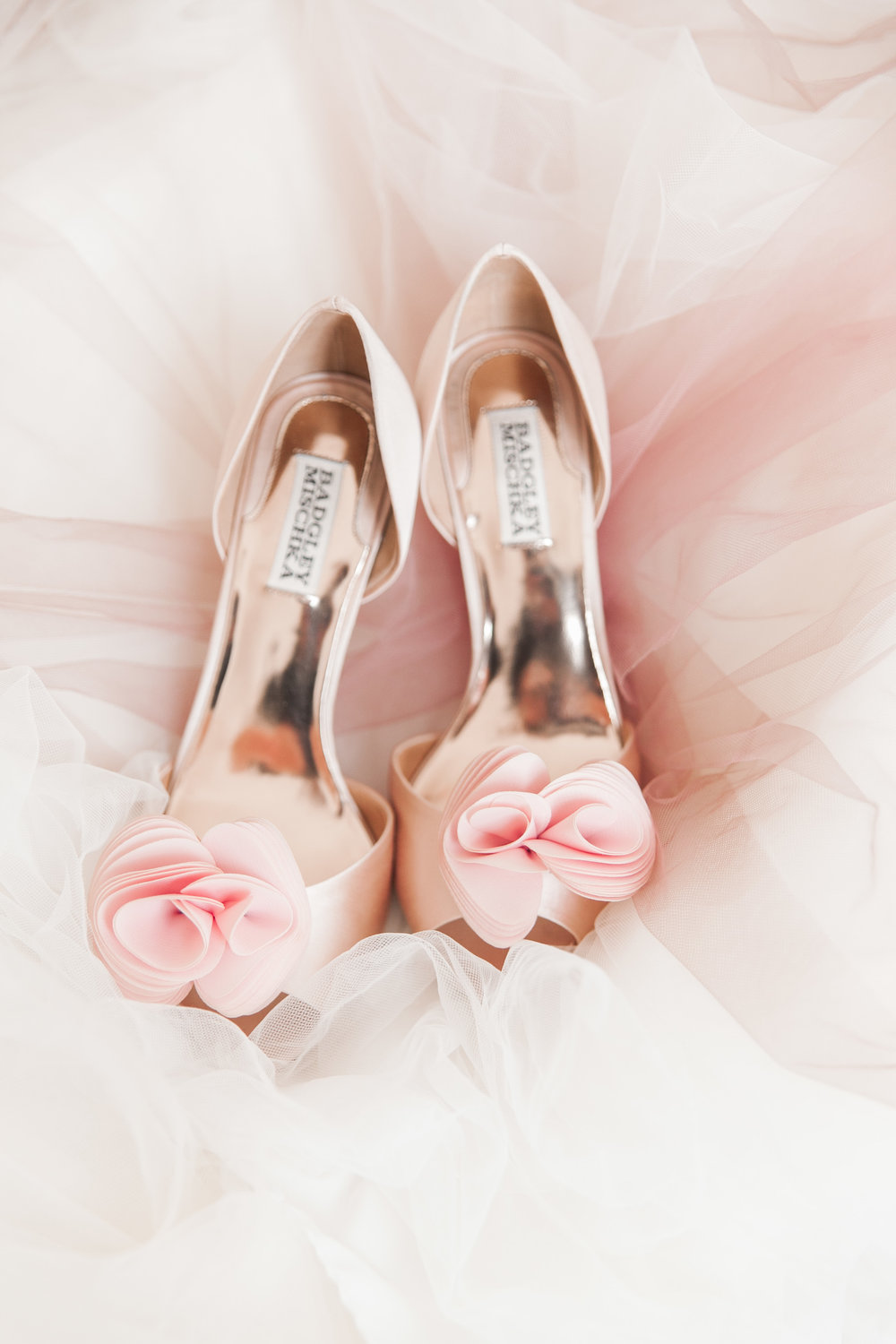 Blush pink Badgley Mischka wedding shoes