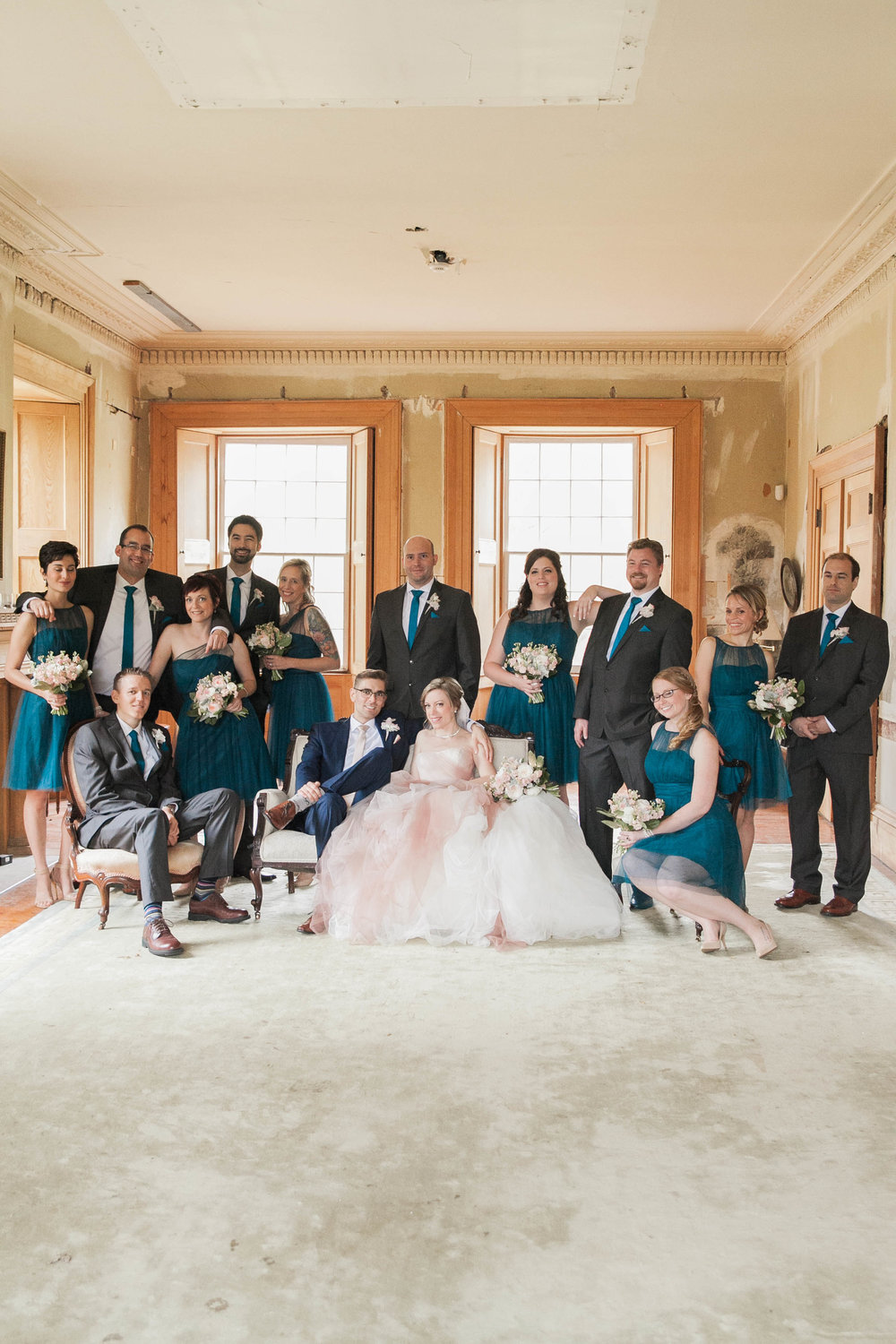 Bridal party in teal and blush