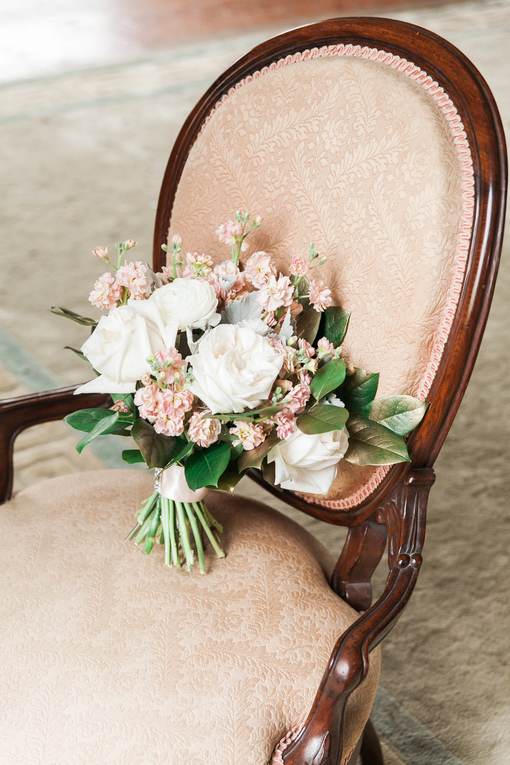 White and blush hand tied bouquet
