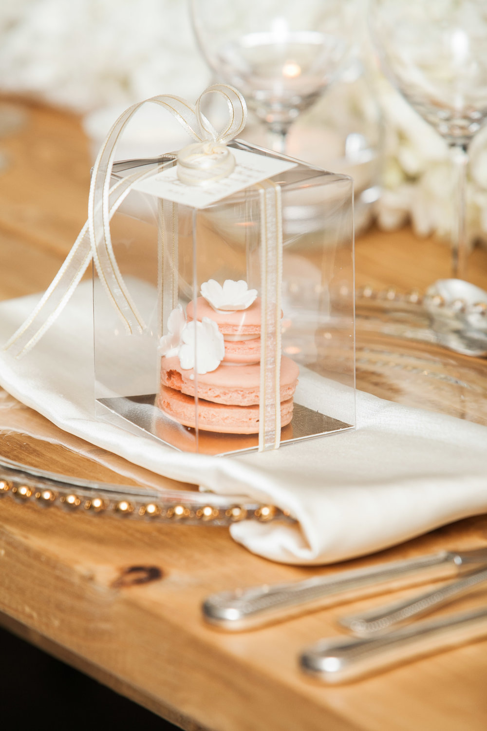 Pink macarons for guests