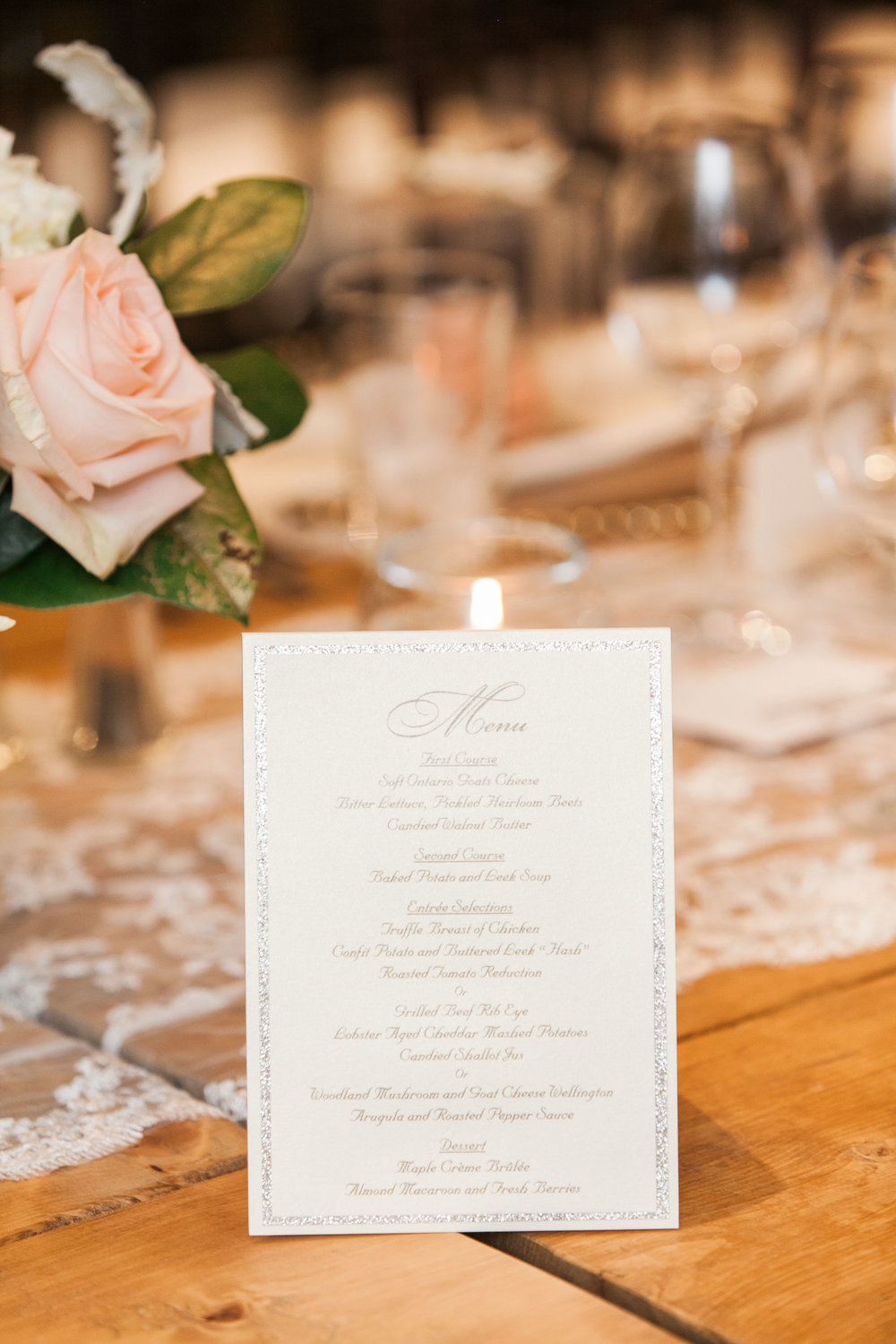 Gold menu cards at vineyard wedding