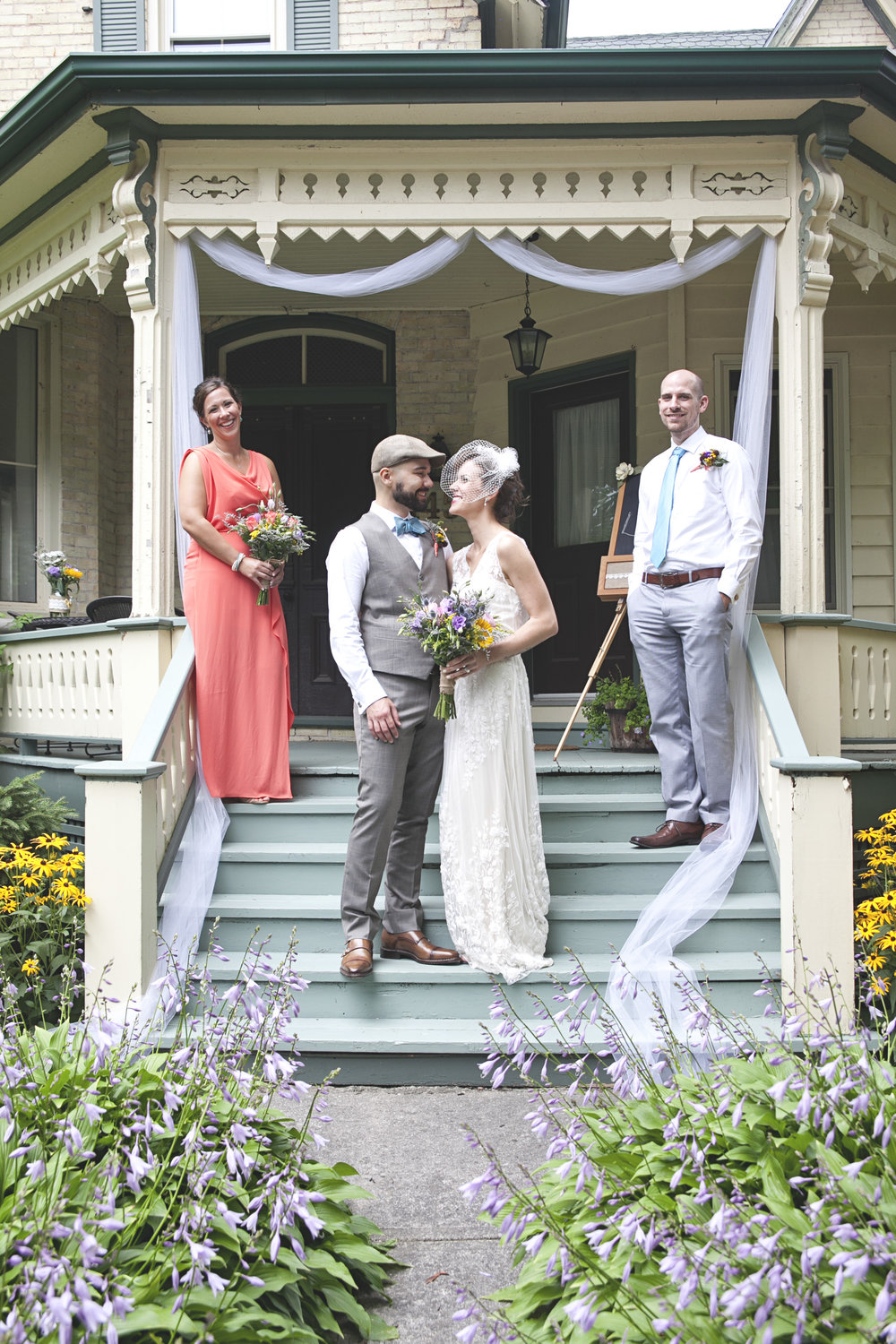 Bridal party photos at farm house in Ontario
