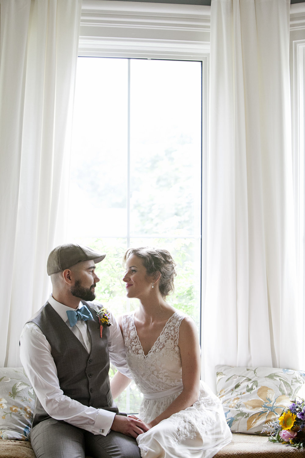 Bride and groom photos in Ontario farm house