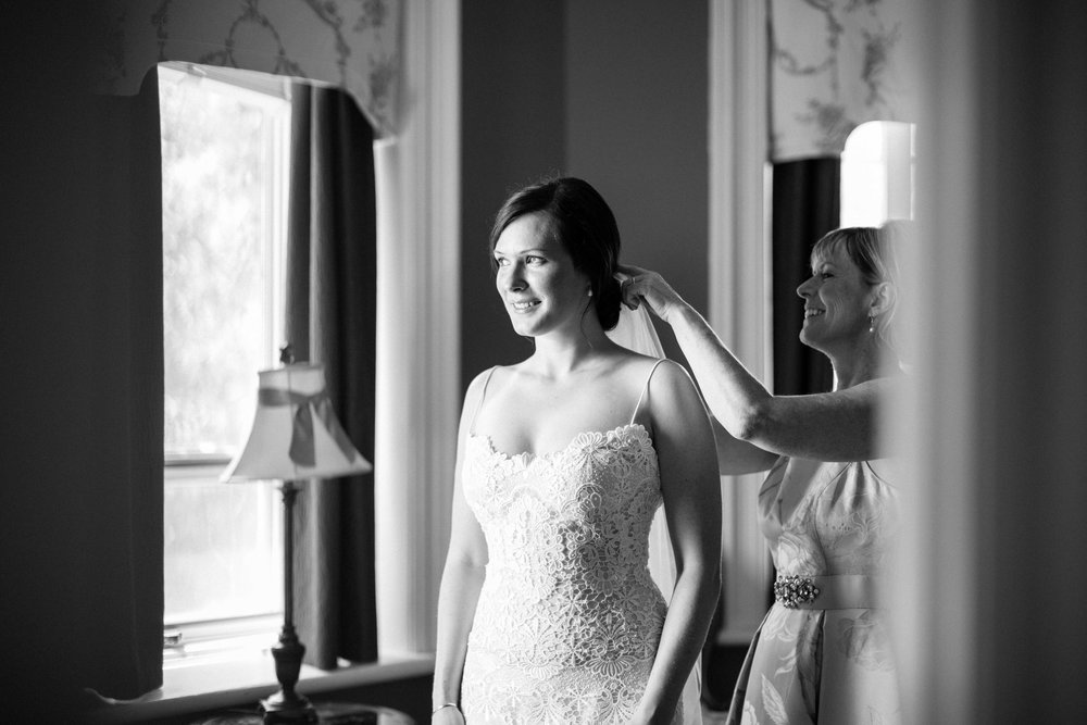 Bride getting ready at Inn in Fergus Ontario
