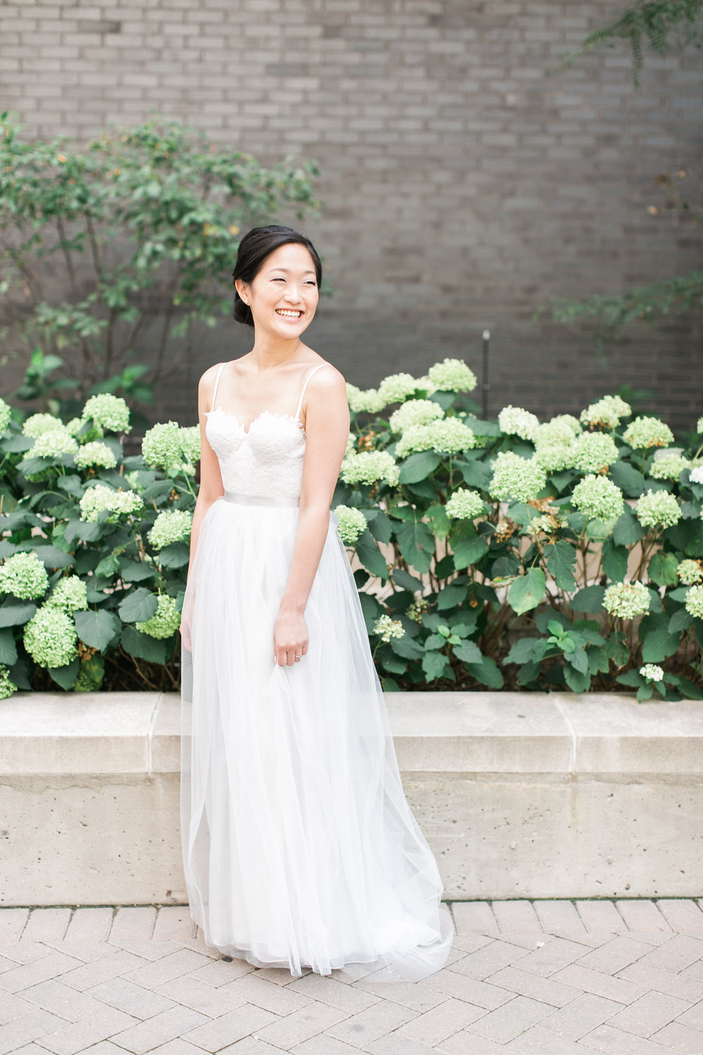 Bride wearing custom dress in Toronto
