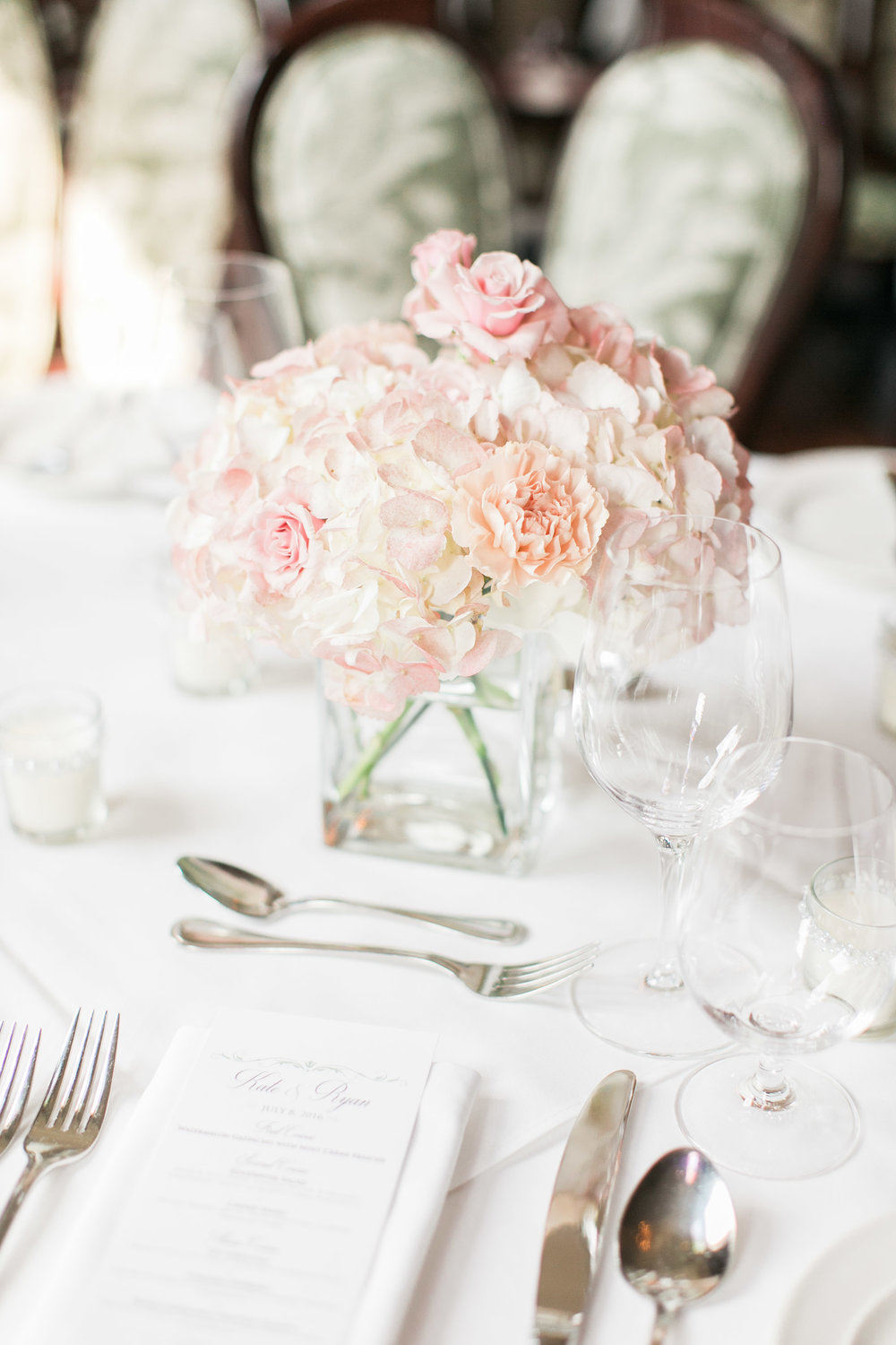 Romantic wedding decor at Edgewater Manor in Stoney Creek