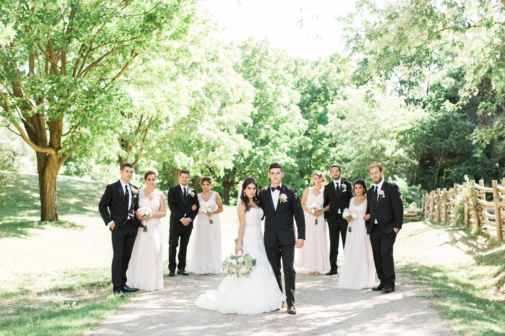 Wedding party photos at Black Creek Pioneer Village in Toronto