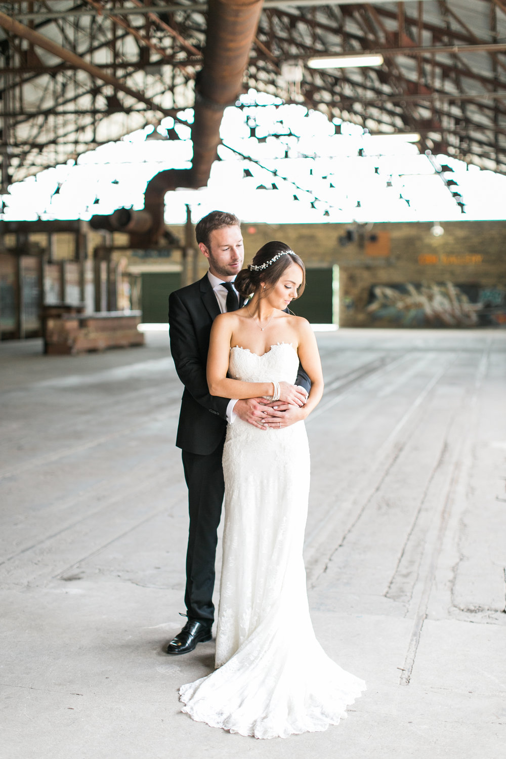 Bride and groom photos at Evergreen Brick Works in Toronto