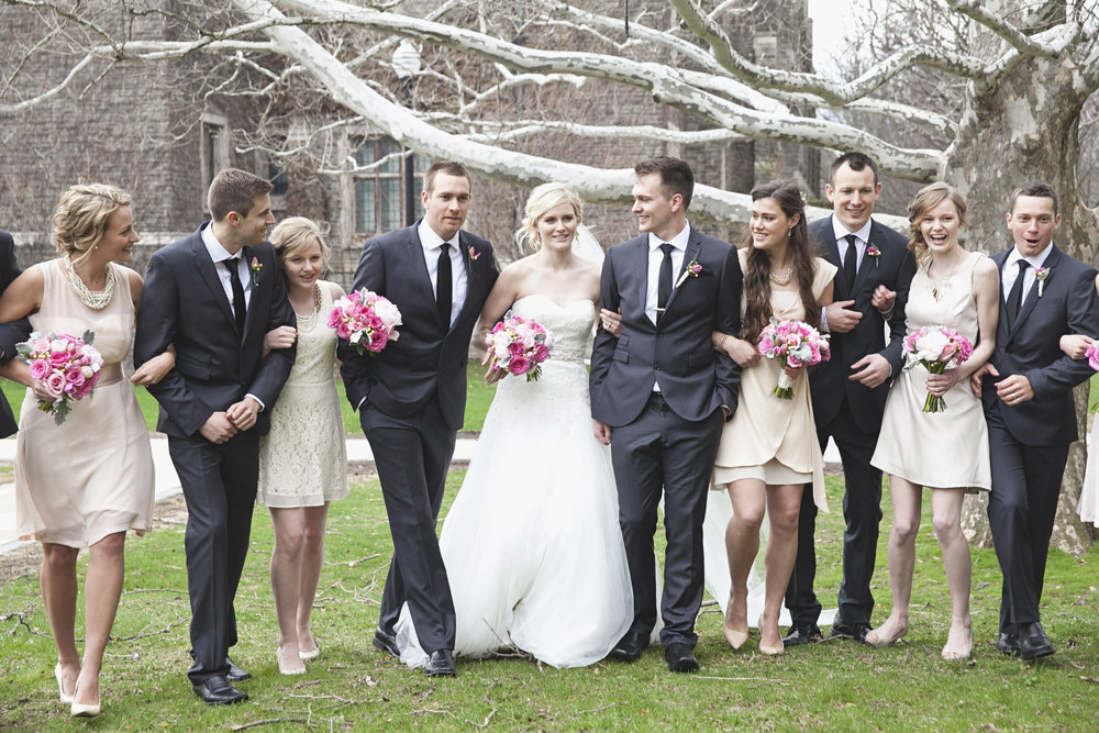 Bridal party photos at McMaster University in Hamilton, Ontario
