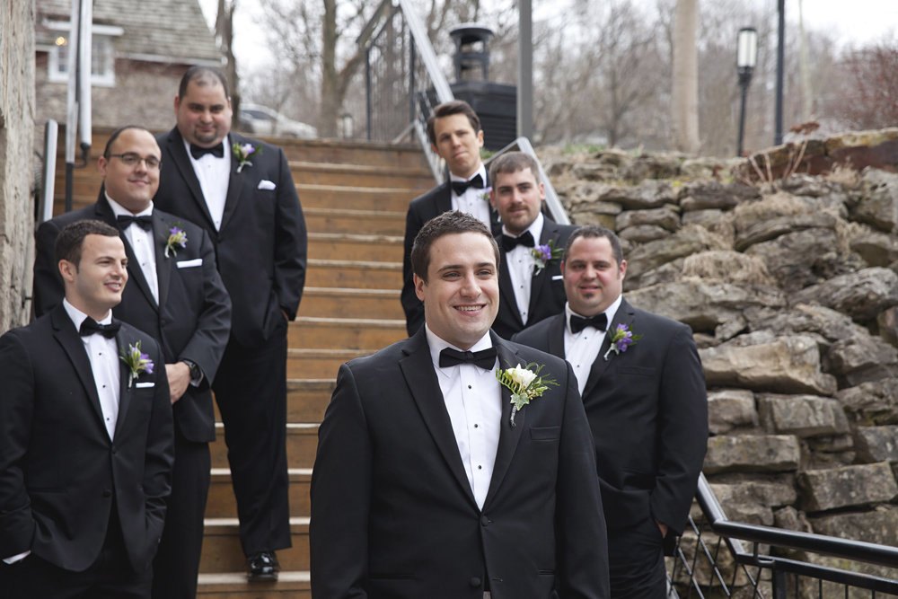 Groomsmen photos at the Ancaster Mill