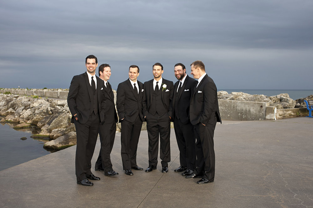 Groomsmen photos at Oakville marina