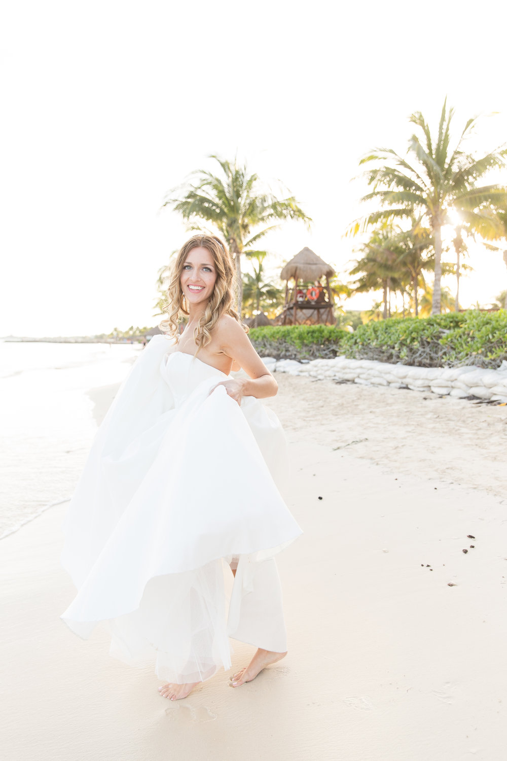 bride on beach in mexico