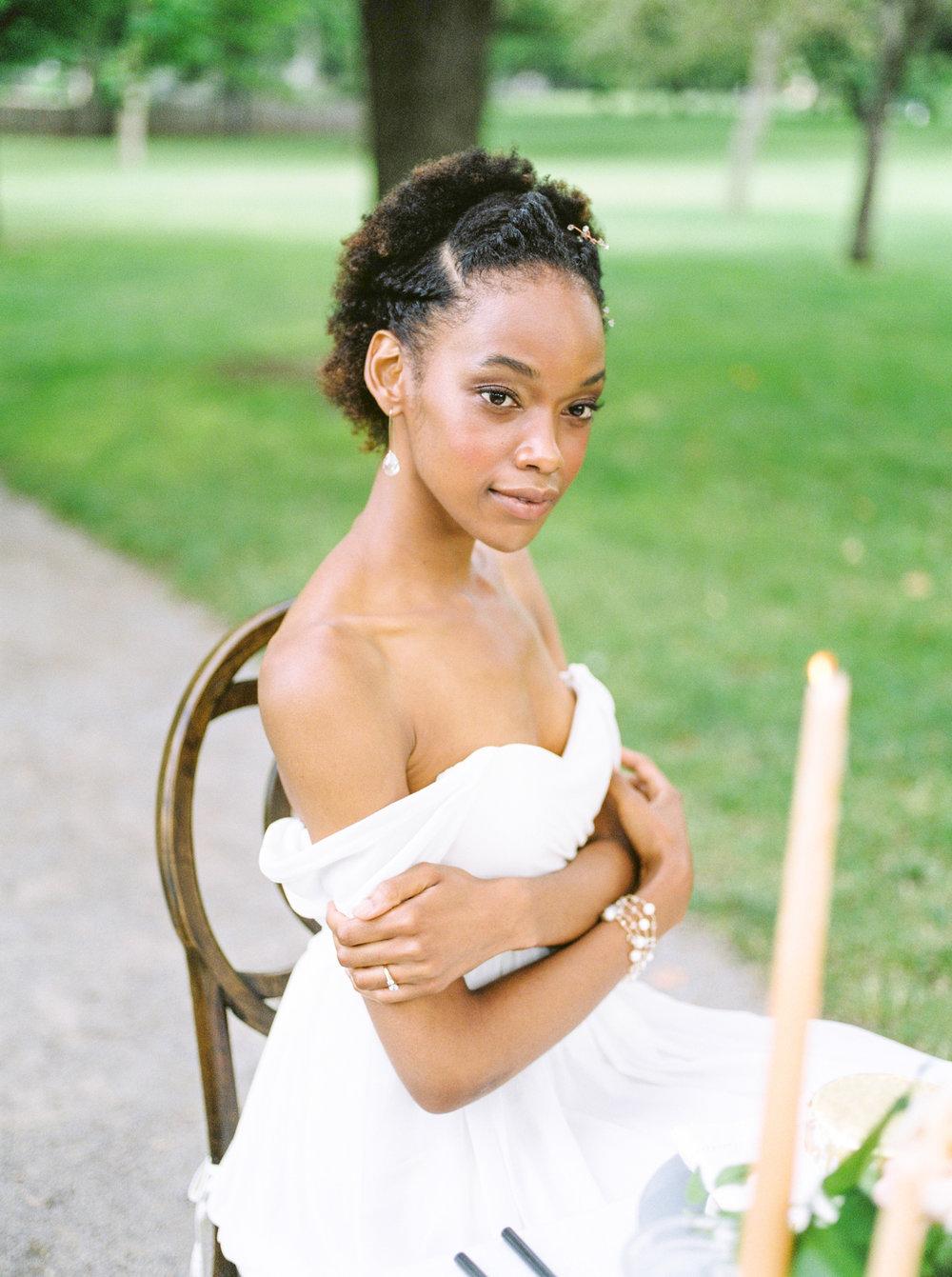 bride at outdoor summer wedding in ontario