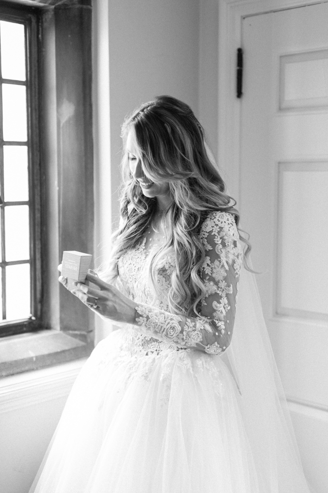 bride wearing hayley paige dress